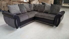 ***BRAND NEW*** Luxury Helix Chenille Fabric And Leather Corner Sofas ** Grey/black or brown