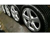 """18"""" Genuine Audi Alloys 5x112 + Goodyear tyres Volkswagen Mercedes Seat Skoda Excellent Condition"""