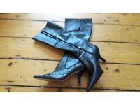 Nine West, Leather,Black, Stiletto Boots
