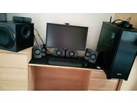 Logitech Z 906 + 6th central speaker and mounts for wall