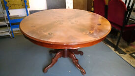 "SOLID WOOD Large Round DINING TABLE - ""Beautifully Engraved"""
