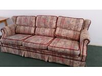 3 seater second hand material fabric sofa and 2 seater brown of leather look sofa for sale.