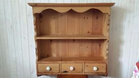 Pine wall dresser with drawers - unpainted, good condition. Lovely piece.