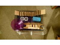 Medium hamster cage and toys