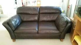 Next 3 seater brown leather settee sofa