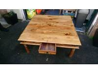 Large rosewood wood coffee table. 1m x 1m Square.