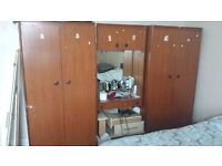 2 large wooden wardrobes exellent condition