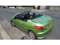 Peugeot 206cc Convertible Lime Green