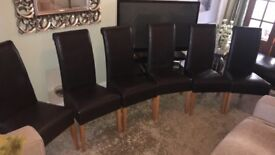 6 Dark Brown Real Leather Chairs