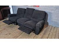 BLACK 3 SEAT REAL NICE FABRIC FULLY RECLINING SOFA