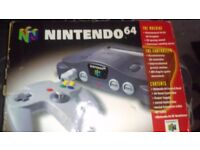 BOXED NINTENDO 64 WITH CONTROLLER AND WIRES