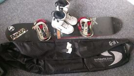 Rossignol Snowboard, Salomon Bindings and Thirty Two Snowboard Boots