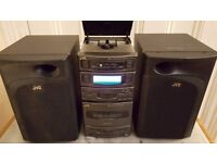 Micro HiFi System. JVC. Split tower Inc CD & cassette player & tuner