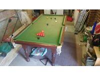 7' slate bed snooker table, balls, triangle, score board