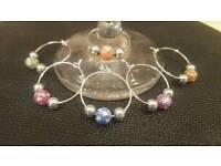 Set of 6 wine glass charms - bead design