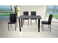 BOSTON 2 TONE GLASS DINING TABLE £99 PLUS 4 CHAIRS BRAND NEW BOXED AMAZING QUALITY 3 COLOURS