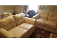 Leather Sofa Set - Cream - Excellent Condition