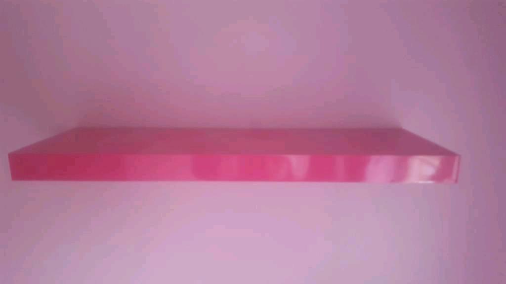 2 Pink High Gloss Floating Shelves
