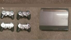 PS3 Playstation 3 Super Slim 500GB Black Console CECH-4203C + 4 controllers