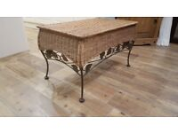 TV / Coffee table wicker/cane & metal