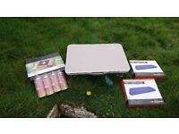 Coleman five birth tent never used and camping cooker and table and two blow up mattresses