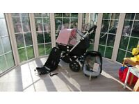 Lovely Bugaboo Cameleon 3 With Pink Extendable Hood and Pink Apron, Maxi Cosi Car Seat and Adaptors