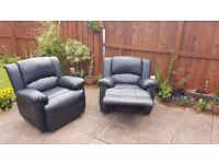 Faux Leather Recliner Arm Chairs Black