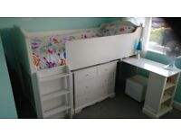 NEXT Children's Cabin/Deck Bed/Midi Sleeper with pull-out desk, 2 chest of draws and a mini wardrobe