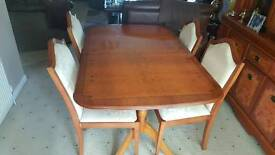 French Polished extendable table with four chairs.