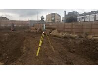 Site setting out engineer,groundworks, foundations,drainage,topo surveys,measured surveys