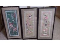 Three silk pictures