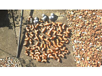 Pipe Fittings, push-fit elbows & 2 metre of 22mm copper pipe for sale