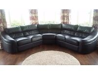 Black leather curved suite