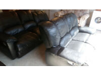 REDUCED....BLACK LEATHER RECLINERS 3 SEATER AND 2 SEATER SOFAS VIEWING WELCOME £139.99 PAIR
