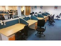 BENCH DESKS USED , 100- POSITIONS- OAK TOPS WHITE FRAMES - 1400 X 800MM , SCREEN PEDS AVAIL EX COND