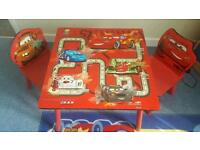 Boys Cars Table and 2 chairs Lightning McQueen Mater