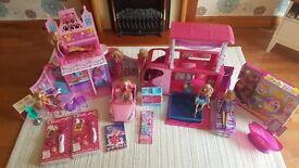 Barbie bundle-Excellent condition-inc Sisters Go Camping Camper Van, Mariposa Castle & new items