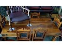 brown solid wood dining table and 6 chairs, Excellent condition