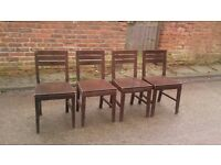 4 X SOLID WOOD DINING CHAIRS GOOD CONDITION BUT NEED A LITTLE TLC FREE LOCAL DELIVERU ST HELENS
