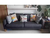 Grey denim style 3 seater sofa