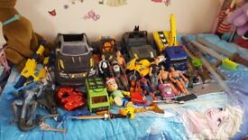 Big bundle job lot boys toys action men guns cars swords etc look