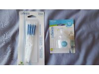 Dr Browns wide neck teets size level 2 (3 months +) and Dr Brown's bottle cleaning brushes