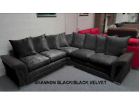 SHANNON CORNER OR 3+2 SEATER SOFA IN BLK/BLK | EXPRESS DELIVERY ALL UK | 1 YEAR WARRANTY
