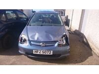 2002 HONDA CIVIC, 1.6 PETROL, BREAKING FOR PARTS ONLY, POSTAGE AVAILABLE NATIONWIDE