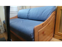 STOMPA PINE DOUBLE SOFA BED IN DENIM BLUE