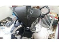 Graco buggy with car seat and rain cover