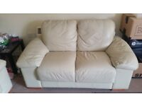 2 x two seater cream leather sofa