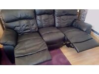 Black leather Recliner 3 seater sofa and Armchair