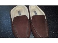 Mens slippers suedette/brown/size 10/ from M&S /worn a couple of times only - great condition