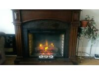 Electric Fire with wooden surround and antique mirror great condition